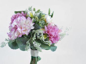 NestyHome - bouquet champêtre rose et vert - Fleur Artificielle