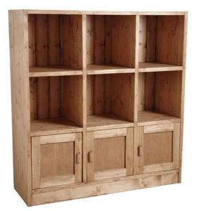 Aubry-Gaspard - bibliothèque 6 cases 3 portes en épicéa ciré miel - Bibliothèque Ouverte