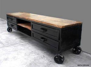 Mathi Design - industriel 180 sur roues - Meuble Tv Hi Fi