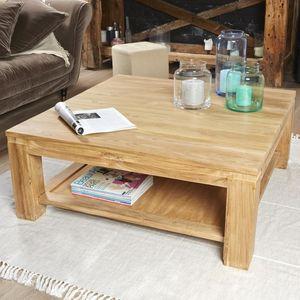 BOIS DESSUS BOIS DESSOUS - table basse en bois de teck 100 boston - Table Basse Carrée