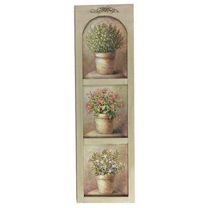 CHEMIN DE CAMPAGNE - tableau cadre en bois peint fleur mural 90x26 cm - Tableau Décoratif