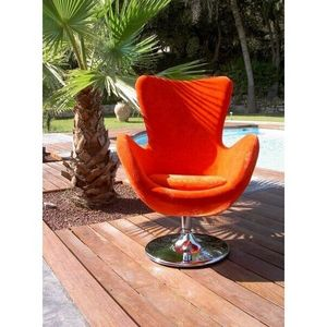Mathi Design - fauteuil rotatif avec pied rond cocoon b - Fauteuil Rotatif