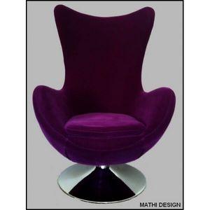 Mathi Design - fauteuil en velours suede - Fauteuil Rotatif