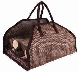 Aubry-Gaspard - sac à bûches en toile de jute renforcée marron - Sac À Buches