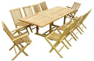 LYNCO - salon de jardin teck table rallonge - Salle À Manger De Jardin