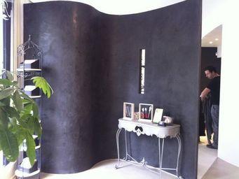 Ombre et lumi�re - beton cir� noir - B�ton Cir� Mural