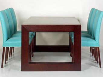 Gerard Lewis Designs - dining table and upholstered chairs in wenge - Table De Repas Carrée