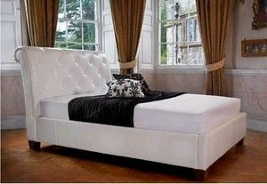 Designer Sofas4u - classic chesterfield bed real leather - Lit Double