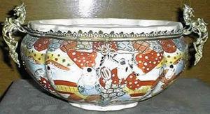Antiquit�s ARVEL - jardini�re en fa�ence de satsuma mont�e - Jardini�re D'int�rieur