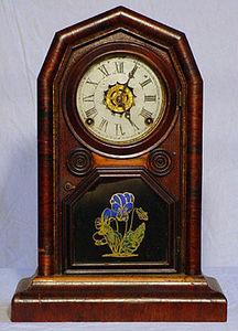 KIRTLAND H. CRUMP - rosewood veneer globe mantel clock - Horloge � Poser