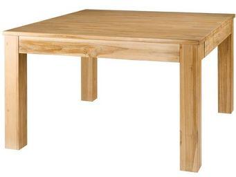 MEUBLES ZAGO - table repas carrée teck blanchi 120 cm + allonge c - Table De Repas Carrée