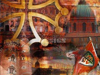 Magel'design - couleurs de toulouse 120x120 cm , 3d effet relief - Tableau Contemporain