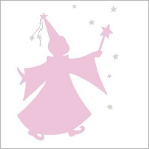 LILI POUCE - sticker fée des étoiles rose sticker ombre d'une  - Sticker Décor Adhésif Enfant