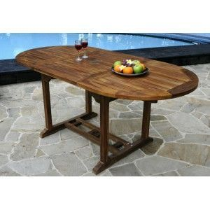 wood-en-stock - table de jardin en teck 8 places huil�e - Table De Jardin Ovale