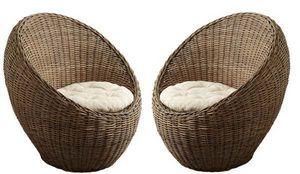 Aubry-Gaspard - fauteuil boule en poelet gris 84x73x83cm (lot de 2 - Fauteuil De Jardin