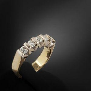 Expertissim - demi-alliance américaine en or et diamants - Bague