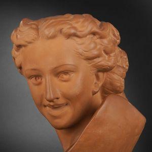 Expertissim - buste de jeune fille rieuse, dans le goût de carpe - Sculpture