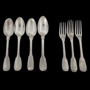 Expertissim - quatre cuillers et trois fourchettes en argent mod - Couverts De Table