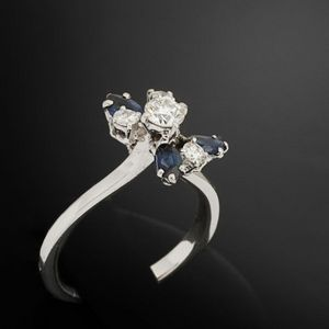 Expertissim - bague fleur or et diamants - Bague