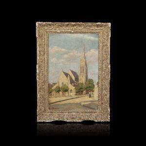 Expertissim - adolphe félix broët. l'église de vanves - Huile Sur Toile Et Huile Sur Panneau