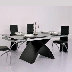 Smart Boutique Design - table en verre noire à rallonge extensible xures - Table De Repas Rectangulaire