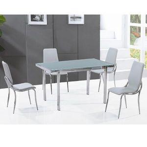 Smart Boutique Design - table en verre pas cher + 4 chaises grises fosco - Table De Repas Rectangulaire