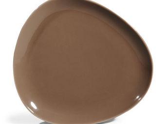 Maisons du monde - assiette plate stone brun - Assiette Plate