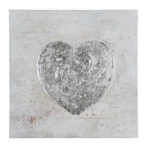 Maisons du monde - toile coeur argent - Tableau Décoratif