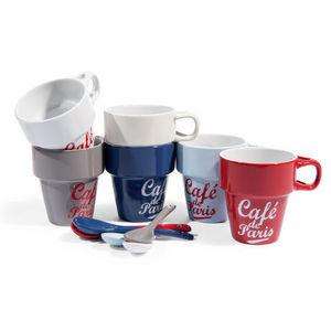 Maisons du monde - coffret 6 tasses et cuillères postcard - Mug