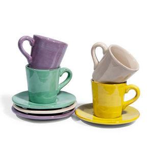 Maisons du monde - assortiment de 8 tasses et soucoupes café basilic - Tasse À Café