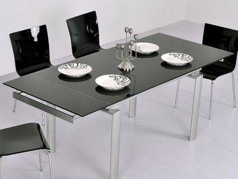 CLEAR SEAT - table en verre noire à rallonge extensible java - Table À Rallonge