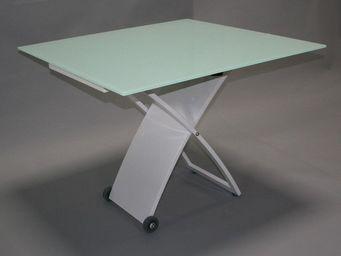 CLEAR SEAT - table en verre carr� relevable baltic pieds blanc  - Table De Repas Rectangulaire