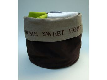 L'atelier D'anne - sac lin et velours home sweet home pour ranger pla - Sac De Rangement