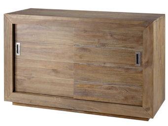 ZAGO - meuble avec portes coulissantes en teck teinte - Meuble De Salle De Bains