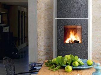 INVICTA - po�le chemin�e � bois habillage blanc roche 14kw 9 - Foyer De Chemin�e � Porte Escamotable