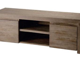ZAGO - meuble télé 2 portes 2 niches en teck teinté gris  - Meuble Tv Hi Fi