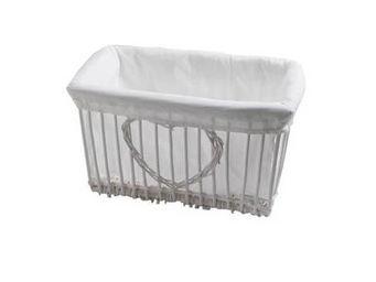 BARCLER - corbeille coeur en osier blanc et coton 34x18x26cm - Panier De Rangement