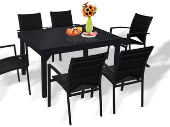 WILSA GARDEN - salon de jardin modulo noir 6 personnes en alumini - Table De Jardin