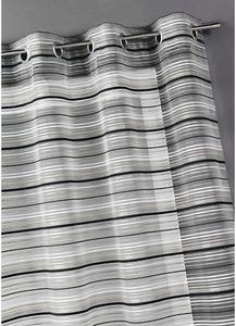HOMEMAISON.COM - voilage organza tissé rayures chenilles horizontal - Voilage