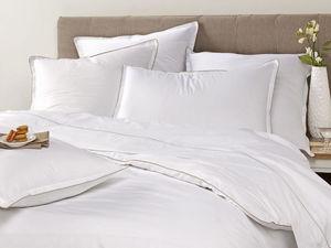 BLANC CERISE - drap plat - percale (80 fils/cm�) - uni, passepoil - Parure De Lit
