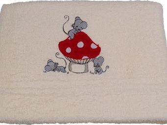 SIRETEX - SENSEI - drap de douche bébé brodé 70x140cm mouse room - Drap De Bain Enfant