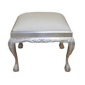 DECO PRIVE - pouf oriental en bois argente et imitation cuir bl - Tabouret
