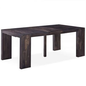 WHITE LABEL - table console extensible 3 rallonges melton - Table De Repas Rectangulaire