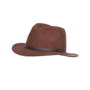 WHITE LABEL - chapeau borsalino en feutre de laine avec galon en - Panama