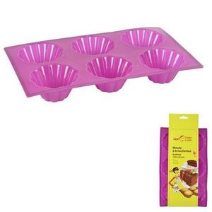 WHITE LABEL - moule � 6 briochettes 100% silicone collection tan - Moule � Tarte