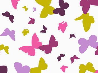FLEUR DE SOLEIL - tissu papillons vert/prune 160x160 - Tissu D'ameublement