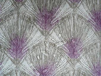 FLEUR DE SOLEIL - tissu plume taupe violine 160x160 - Tissu D'ameublement