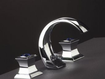 Cristal Et Bronze - pacific cristal bleu - Mélangeur Lavabo 3 Trous
