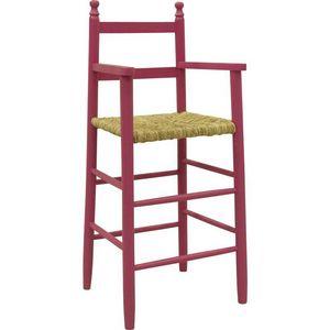 Aubry-Gaspard - chaise haute pour enfant en h�tre framboise - Chaise Haute Enfant