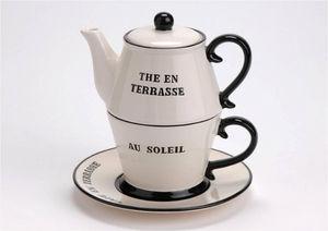 Amadeus - tea for one 2 en 1 en dolomite 16.5x16.5x17cm - Théière